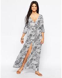 Hazel Printed Maxi Dress - Blue