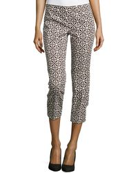 Laundry by Shelli Segal Printed Twill Cropped Pants - Lyst
