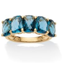 Palmbeach Jewelry - 5.00 Tcw Oval-cut London Blue Genuine Topaz 18k Gold Over Sterling Silver Ring - Lyst