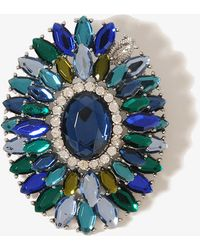 Forever 21 Bejeweled Oval Pin - Green