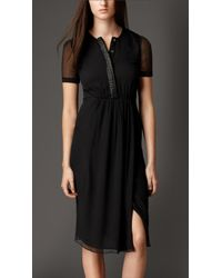 Burberry Embellished Placket Silk Crépon Dress - Lyst