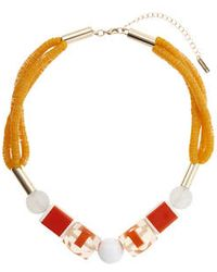 Topshop Sequin And Block Beaded Necklace - Lyst