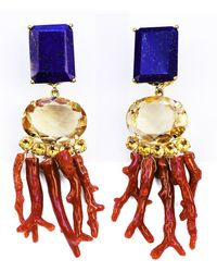 Bounkit Lapis, Citrine, And Coral Branches Earrings - Lyst