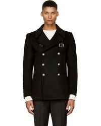 Balmain Black Wool Pea Coat - Lyst