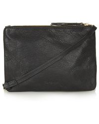 Topshop Leather Dual Pouch Crossbody - Lyst
