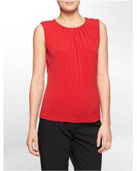 Calvin Klein White Label Pleated Scoopneck Sleeveless Top - Lyst
