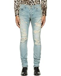 Saint Laurent Blue Distressed Skinny Jeans - Lyst