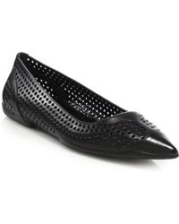 Prada Perforated Leather Point-toe Flats - Lyst