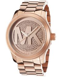 Michael Kors Womens Runway Rose Gold Tone Pave Crystal Dial Rose Gold Tone Ip Ss - Lyst
