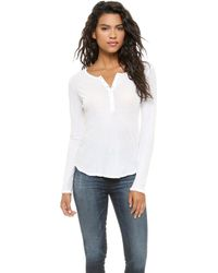 James Perse High Gauge Jersey Henley  White - Lyst