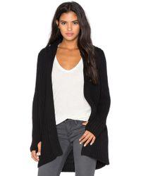 525 America Hood & Thumbhole Rib Sweater Coat - Black