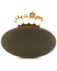 Alexander McQueen Skull Knuckle Studded Leather Clutch - Lyst