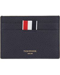 Thom Browne Pebbled Leather Card Holder - Blue