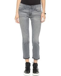 Current/Elliott The Cropped Straight Leg Jeans - Gutter with Released Hem - Lyst