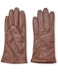 Fownes Cashmere-Lined Leather Gloves - Brown