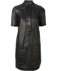 Burberry Brit Leather Shirt Dress - Lyst
