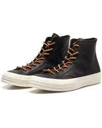 Converse Chuck Taylor Black Leather High Top Sneakers black - Lyst