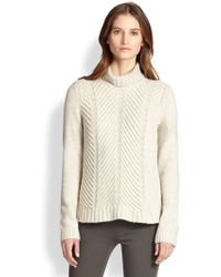 Vince Yak & Wool Chevron-Knit Turtleneck Sweater - Lyst