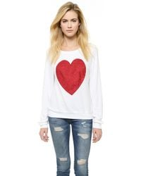 Wildfox Sparkle Heart Baggy Beach Pullover - Jet Black - Lyst