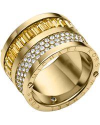 Michael Kors Golden Pavelight Topaz Barrel Ring - Lyst