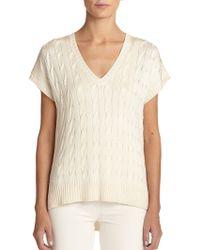 Ralph Lauren Black Label Silk Cable-Knit Top - Lyst