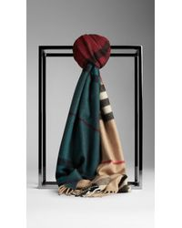 Burberry Colour Block Check Cashmere Scarf - Lyst