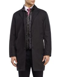Tommy Hilfiger Black Ladd Quilted Bib Trench Coat