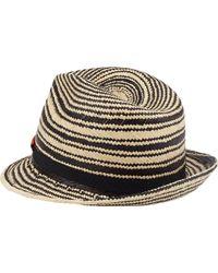 Noel Stewart Stripe Panama Straw Fedora - Black