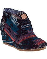 TOMS Desert Wedge Ankle Boot Black Jacquard Fabric - Lyst