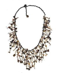 Aeravida - Tiger's Eye- Feshwated Golden Brown Waterfall Cluster Necklace - Lyst