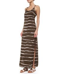 Halston Heritage Dip-Dye Striped Maxi Dress - Lyst