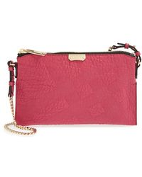 Burberry 'Peyton - Grain Check' Crossbody Bag pink - Lyst