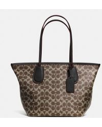 Coach Taxi Zip Top Tote In Signature Canvas - Lyst