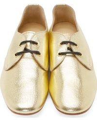 Yohji Yamamoto Gold Grained Leather Derbys - Lyst