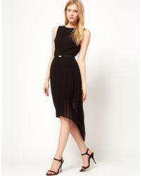 Oasis Pleat Dip Hem Belted Dress - Lyst