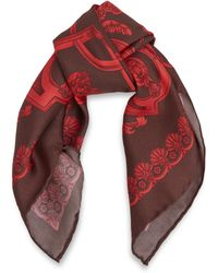 Versace Red Classic Baroque Print Silk Scarf - Lyst