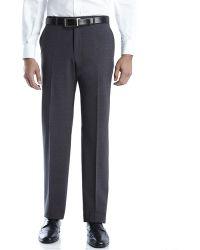 Armani Dark Grey Woven Flat Front Dress Pants - Lyst