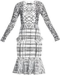 BCBGMAXAZRIA Emmanuelle Jacquard Peplum Dress - Lyst