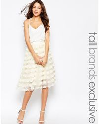 True Decadence 3d Applique Tulle Prom Skirt - Natural
