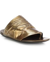 Marsell Metallic Leather Flat Sandals - Lyst