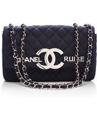 What Goes Around Comes Around Chanel Navy Cc Cruise Flap Bag - Lyst