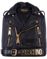 Moschino Black Leather Biker Backpack - Lyst