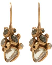 Ruth Tomlinson - Gold Raw Diamond Cluster Drop Earrings - Lyst