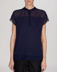 Karen Millen Shirt  Sheer Panel Collection - Lyst