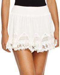 Surf Gypsy Crochet Inset Skirt Swim Cover Up - White