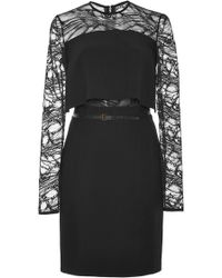 Elie Saab Stretch Cady and Lace Short Dress - Lyst
