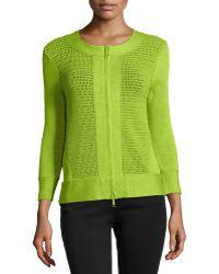 Lafayette 148 New York Open Knit Zipped Cardigan - Lyst