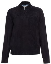 Paul Smith Black Perforated Suede Bomber Jacket - Lyst