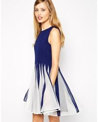 Asos Mesh Insert Fit and Flare Mini - Lyst