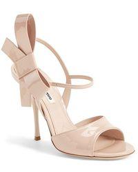 Miu Miu Bow Leather Sandal - Lyst